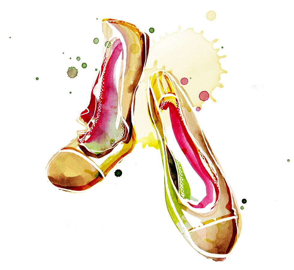 anemonekloos_liebelingsschuhe_ballerinas_aquarell_illustration